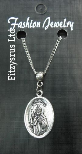 "18"" 24"" Inch Chain Necklace & St Jude Pendant Charm - Religious Holy Saint New"